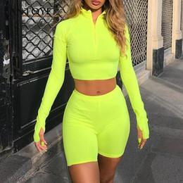 Two Piece Turtleneck Dress Australia - Fantoye Two Piece Set Fluorescent Green Top Shorts Suit Sexy Turtleneck Long Sleeve Bodycon Sport Suit Casual Femme Tracksuit Q190507