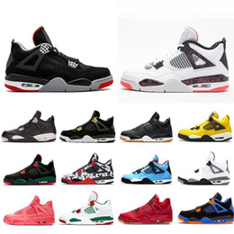 Table Cat Box Australia - With Box 2019 Bred Pale Citron Tattoo 4 IV 4s men Basketball Shoes Pizzeria Singles Day Royalty Black cat mens trainers Sports Sneakers