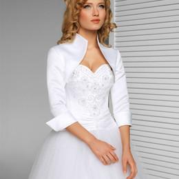 EvEning wEdding drEss bolEro online shopping - White Ivory Sleeves Wedding Jacket New Satin Bolero Jackets For Evening Dresses Bridal Wraps Formal Wedding