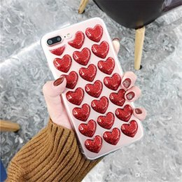 $enCountryForm.capitalKeyWord Australia - Mytoto Fashion 3D Heart Glue TPU Silicon Body Case for iPhone 5 5S 5SE 6 6S 7 8 Plus X Back Cover Loves Sequins Soft Phone Cases