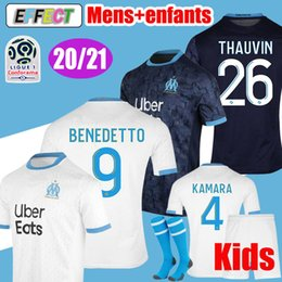 olympique marseille soccer jersey NZ - New 2020 2021 Olympique de Marseille BENEDETTO Soccer Jersey 20 21 Maillot De Foot PAYET 120th THAUVIN OM Home enfant Kids Football shirts