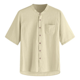 Wholesale men hawaii shirt resale online - Cotton Linen Casual Shirts Summer Solid Shirts Men Shorts Sleeve Hawaii Shirt Breathable Plus Size Clothing Cool Khaki White Top