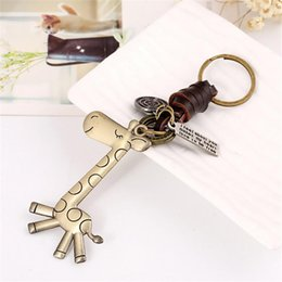 vintage leather car key holders NZ - Alloy Cute Giraffe Keychain Key Ring Vintage Metal Key Holder For Gift chain Woven Leather Keychain Jewelry for cars #1225