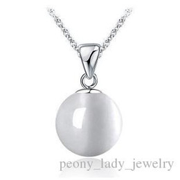 $enCountryForm.capitalKeyWord NZ - 925 sterling silver necklace items jewelry 10mm cat eye statement pendant necklaces girl woman new arrival gift
