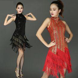 Gold Dance Costume Dresses Australia - Women Ballroom Dresses Samba Dance Costumes Femme Salsa Latin Dress Woman Vestido Baile Latino Mujer Q190529