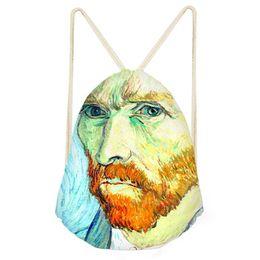 Color Diy Painting Australia - Drawstring Bag Van Gogh oil painting Monet For Women Fashion Summer Travel Shoulder Bag Small Kids Girls backpack Custom DIY