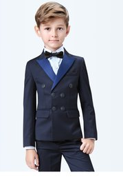 Handsome Kids Suits Australia - Popular Double-Breasted Peak Lapel Kid Complete Designer Handsome Boy Wedding Suit Boys Attire Custom-made (Jacket+Pants+Tie) A52