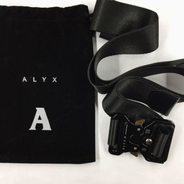 black ALYX Belt 128cm Rollercoaster Metal button canvas Smooth Hip hop street wear safety belt from tool mounting manufacturers