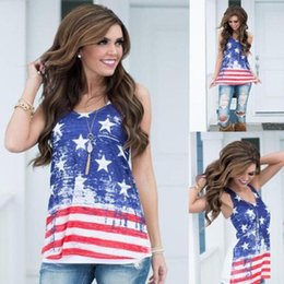 $enCountryForm.capitalKeyWord Australia - Women Vest Tank T-Shirts USA American Flag Star Striped Printed Sleeveless Summer Tops Independence Day 4th July Tees Girls LJJA2393