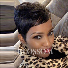 $enCountryForm.capitalKeyWord Australia - New style fluffy black short hair human hair wig Short Brazilian Bob pixie Cut Wigs suitable for all kinds of people