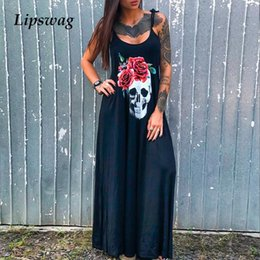 punk skull shirt Australia - 2020 Punk Style Loose Summer Dress Women Skull Flower Print Sleeveless Long Dress Female Sexy High Slit Maxi Dress Vestidos 3XL Y200623