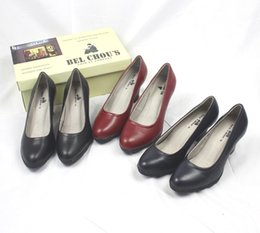 wide work shoes NZ - Unique2019 High-heeled Genuine Black Red Leather Work Ceremony Student Correct Thick With Single Shoe Upper A Pair Of Shoes