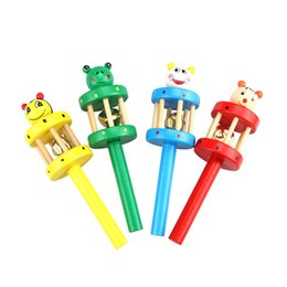 Baby Rattles Australia - Colorful Wooden Rattle Children Toys Random Color Bell Shaker Stick Toy Cartoon Animal Baby Children's Educational Toys