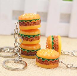 $enCountryForm.capitalKeyWord NZ - 3D Resin Hamburger Keychain Mini Food Hamburger Key Chain Gold Carabiner Keychains Key Ring Holds Hangbag Hangs Promotion Gift