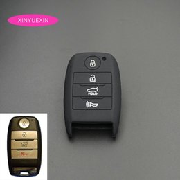 kia remote cover NZ - Xinyuexin Silicone Rubber Car Key Cover FOB Case for Kia Sorento Optima 4 Buttons Smart Remote Key Jacket Case Car-styling