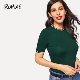 $enCountryForm.capitalKeyWord Australia - ROMWE Rib Knit Striped Ringer Tee 2019 Green Glamorous Round Neck T Shirt Women Stylish Summer Short Sleeve Slim Fit Tee