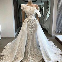 couture mermaid wedding dresses 2019 - 2019 Luxury New One Shoulder Lace Wedding Dresses With Detachable Court Train Applique Mermaid Bridal Couture Engagement
