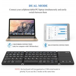 $enCountryForm.capitalKeyWord Australia - Foldable Bluetooth Keyboard Dual Mode USB Wired Bluetooth Keyboard with Touchpad Rechargeable for Windows Android Tablet Smartphone Surface