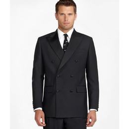 $enCountryForm.capitalKeyWord NZ - Black Formal Groom Wear For Wedding Double Breasted 2 Pieces Mens Pants Suits Best Man Business Blazer(Jacket+Pants)