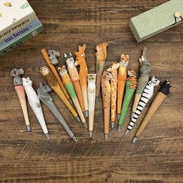 Handmade Animal carved wood pen Cute creative Flamingo Writing Pen Ball Point Wooden Novelty Gift School Stationary Ballpoint toys LA07 on Sale