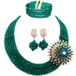8e743fd68 wholesale Classic Fashion Nigeria Wedding Africa Beads Jewelry Set Aqua  blue Necklace Bracelet Bridal Jewelry Sets MH-04
