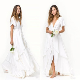 beach wedding dresses short deep v 2019 - Boho Slits Skirts Romantic Beach bohemian Wedding Dresses Cheap Short Sleeves Deep V Neck Layered Train Silk Satin Chiff
