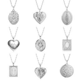 $enCountryForm.capitalKeyWord Australia - Ethiopian Photo Frame Memory Locket Pendant Necklace for Women Silver Color Wholesale Vintage Jewelry Chain Necklaces