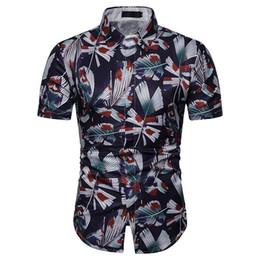 Shirts Flower For Man Australia - Casual dress Floral Shirt Men's clothing Slim Flower Shirt for Men Hawaii Short Sleeve Blouse Hawaiian New