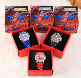 Wholesale Spiderman Children Wristwatch Kids Cartoon Watches With Boxes Gifts W007