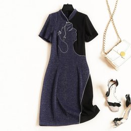 $enCountryForm.capitalKeyWord Australia - Europe and the United States Women's clothing new for summer 2019 Short-sleeved figure embroidery dress stand-up collar