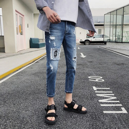 amazon printing Australia - Pop2019 Cool Time Men's Wear Trend Man Come To A Stop Nine Part Jeans Holes Patch High Street Wind Amazon Expert For