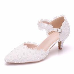 Shoes Women High Heel White Australia - Women Shoes White Lace Wedding Shoes 5CM High Heels Shoes PUMPS White Lace Sweet Princess Party Mary Janes Heels