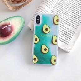 iphone pineapple case Australia - Mytoto Cute Avocado Glitter Quicksand Pineapple Phone Case For iphone X XR XS MAX Liquid Cover For iphone 6S 6 7 8 Plus