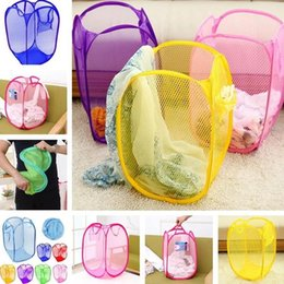Folding Dirty Clothes Basket Australia - HOT B07 High Quality Large Size Dirty Clothes Basket Wholesale Folding Color Net Storage Basket Dirty Clothes Bucket T7I379