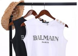 15fc40cfa Verano de algodón sin mangas de las mujeres sin mangas de cuello redondo  camiseta de las señoras del chaleco Singlets París Tank Tops Casual Camis