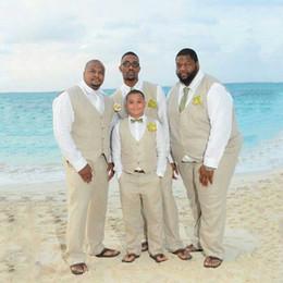 $enCountryForm.capitalKeyWord Canada - WL 2019 Plus Size Ivory Linen Men Suits for Beach Wedding Groom Tuxedos 2Piece Slim Fit Terno Masculino