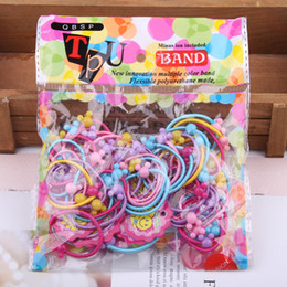 Children Hair Ponytail Australia - 50pcs bag Small Cartoon Bears Flowers Rabbit Star Child Baby Kids Ponytail Holders Hair Accessories For Girl Rubber Band Tie Gum