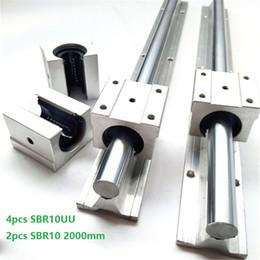 Vente en gros 2pcs SBR10 2000mm rail de guidage linéaire rail guide + 4pcs SBR10UU paliers linéaires pour CNC pièces de routeur