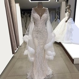 $enCountryForm.capitalKeyWord Australia - White Mermaid Evening Dresses Feather Long Sleeves Party Gowns 2019 Couture V Neck Tulle Beaded Crystals Prom Dress Graduation Dresses