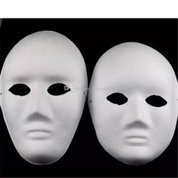 Half Covered Face Masks Australia - Halloween Full Face Masks for Adults DIY Hand-Painted Pulp Plaster Covered Paper Mache Blank Mask Wholesale Men Women Plain Party Mask a643