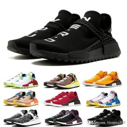 China free shipping 2018 2018 NEW Pharrell Williams Human RACE HU Trail Mens Designer Sports Running Shoes for Men Women Sneakers size 36-45 cheap human leather suppliers
