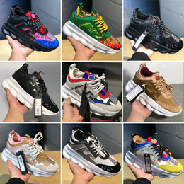 China With Box Chain Reaction Shoes Casual Designer 2019 New Fashion Sneakers Sport Lightweight Link-Embossed Sole Mesh Rubber Leather Dust Bag supplier canvas shoes lightweight suppliers