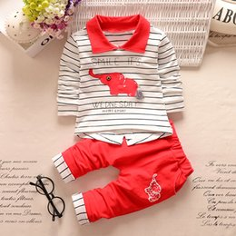 Wholesale good quality Spring Infant Baby Boy Clothing Sets Cartoon Stripe Top Casual Pants Set Newborn Boys Cotton Sport Chothes