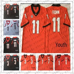 a3f043d27 Youth Kids UGA Georgia Bulldogs Jake Fromm College 7 DAndre Swift 1 Justin  Fields 3 Roquan Smith Football Jerseys Stitched White Red Black