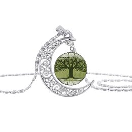 $enCountryForm.capitalKeyWord Australia - 30 new crescent moon life tree necklace half moon flower plant lucky amulet necklace hollow moon time gemstone pendant necklace jewelry