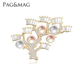 $enCountryForm.capitalKeyWord NZ - PAG&MAG 925 Sterling Silver Brooch Pendant Accessories Fan-shaped Design Multicolor Natural Pearl Pin Brooches Jewelry For Women
