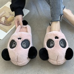 pandas slippers Australia - woman Plush Slippers House Slippers Winter Cartoon Panda Warm Women Bear Ear Pattern Boot Women Plush Platform Shoes
