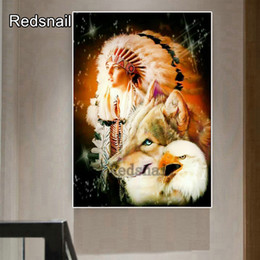indian girls paintings NZ - 5d round square diy diamond painting Indian beauty girl with wolf eagle diamond painting cross mosaic embroidery diamond TT313