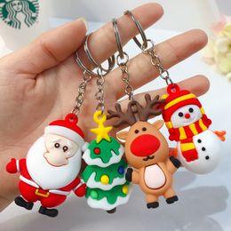 Alloy epoxy online shopping - Creative cute cartoon Epoxy Christmas Tree Snowman Elk Santa Claus Keychain Keyring For Women Men Children Christmas gifts