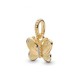 pandora christmas charms Australia - New Authentic 925 Sterling Silver Charm Gold Color Shine Spring Butterfly With Crystal Pendant Beads Fit Pandora Bracelet Diy Jewelry